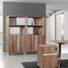 Gothenburg Walnut Laminate + Metal Base Modern Bookcase