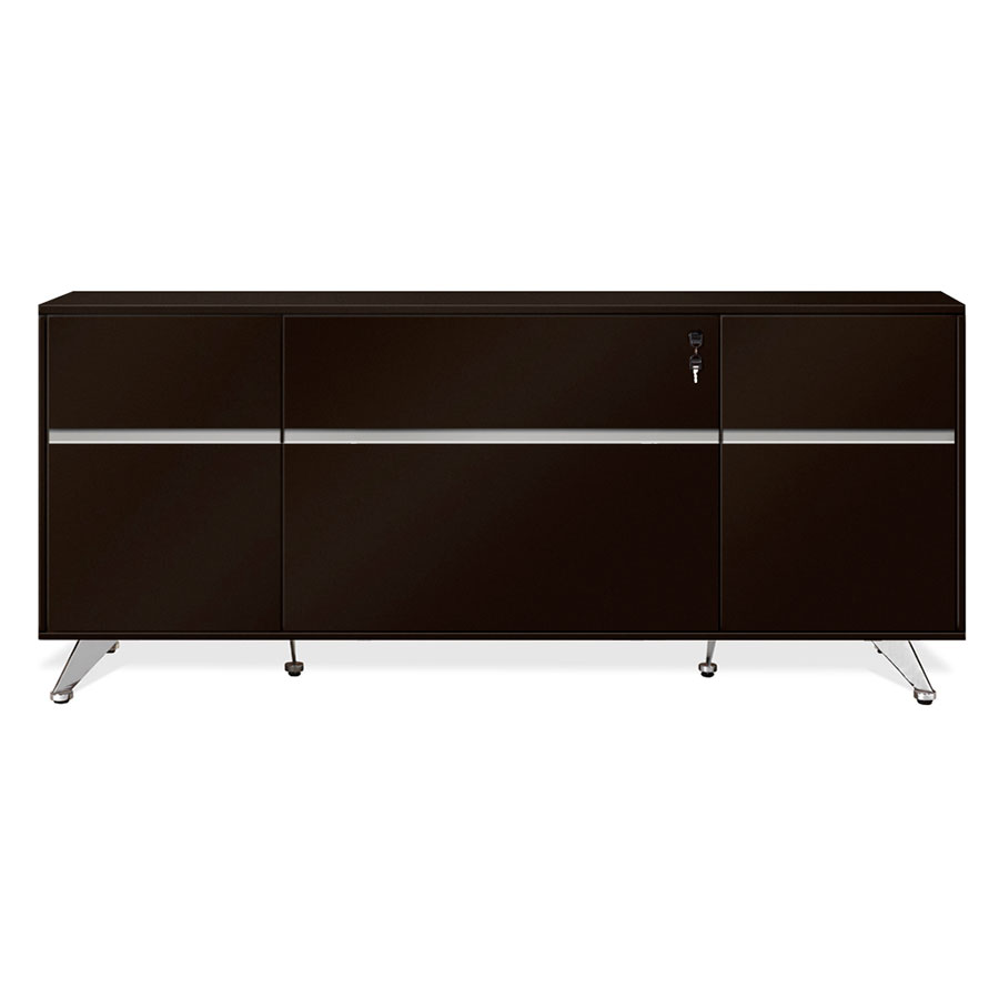 modern file cabinets  contemporary storage cabinets  eurway - gothenburg espresso laminate  metal modern office credenza
