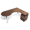 Gothenburg 300 Collection Modern Right Return Walnut Desk Set