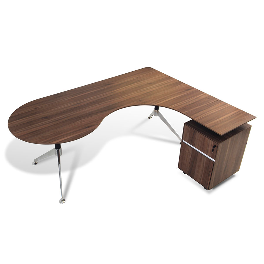 Gothenburg Modern Right Return Walnut Desk Set