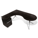 Gothenburg 300 Collection Modern Left Return Espresso Desk Set