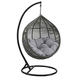 Grace Modern Outdoor Hanging Swing Chair w/ Gray Cushion