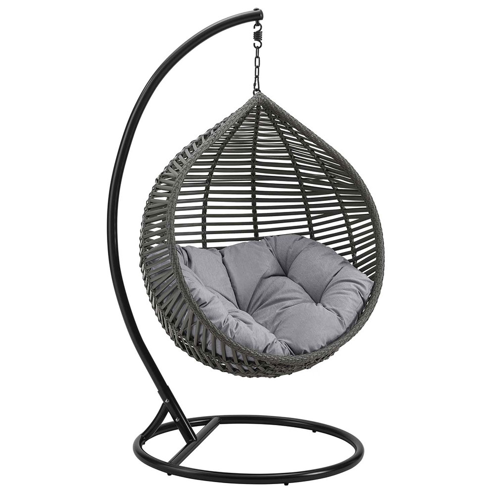 Grace Modern Outdoor Gray Hanging Swing Chair Eurway