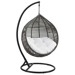 Grace Modern Outdoor Hanging Swing Chair w/ White Cushion