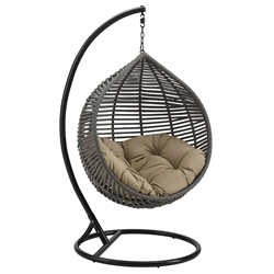 Grace Modern Outdoor Hanging Swing Chair w/ Mocha Cushion