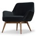 Grady Shadow Gray Fabric + Walnut Wood Modern Lounge Chair - Reverse Angle