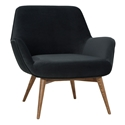 Grady Shadow Gray Fabric + Walnut Wood Modern Arm Chair
