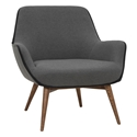 Grady Slate Gray Fabric + Walnut Stained Ash Wood Modern Arm Chair