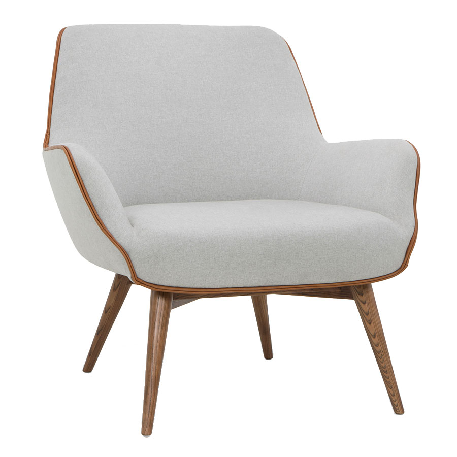 Grady Stone Gray Fabric With Piping Detail + Walnut Stained Ashe Wood Modern Arm Chair