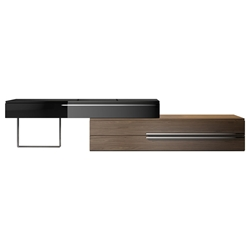 Modloft Gramercy Walnut + Black Lacquer Modern Media Stand