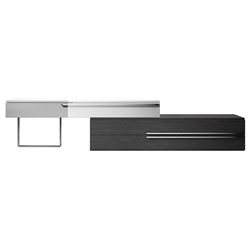Modloft Gramercy Gray Oak + White Lacquer Modern Media Stand