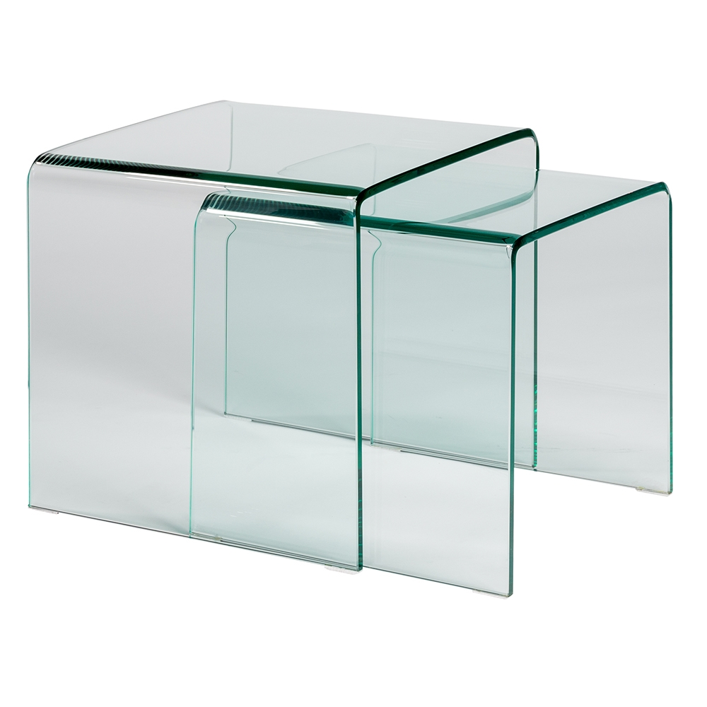 Modern side tables granby nesting table set eurway call to order granby clear glass nesting table set watchthetrailerfo