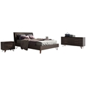 Grand Contemporary Bedroom Set in Espresso Wood and Copper Metal