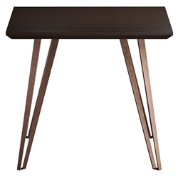 Modloft Grand Espresso Wood + Copper Metal Modern Side Table