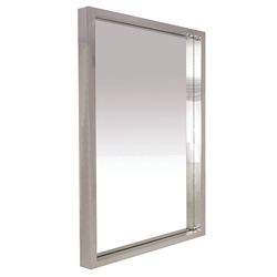 "Glam 36"" Square Polished Steel Modern Wall Mirror"