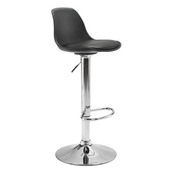 Gretchen Black ABS Plastic + Leatherette + Chromed Metal Modern Adjustable Height Stool