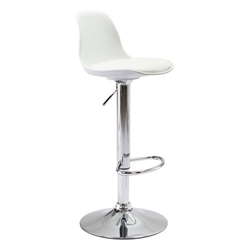 Gretchen White Molded ABS Plastic + Leatherette + Chromed Metal Base Modern Adjustable Height Stool