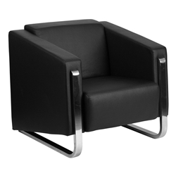 Grindsted Black LeatherSoft + Stainless Steel Modern Lounge, Lobby and Living Room Chair