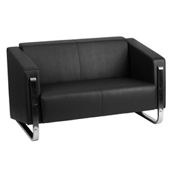 Grindsted Black LeatherSoft + Stainless Steel Modern Loveseat