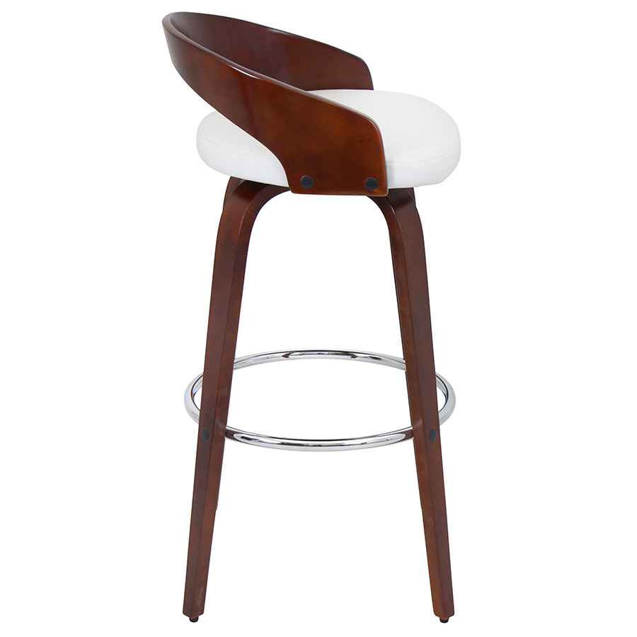 Grove Modern Cherry and White Bar Stool - Side View
