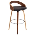 Grove Modern Walnut and Brown Bar Stool