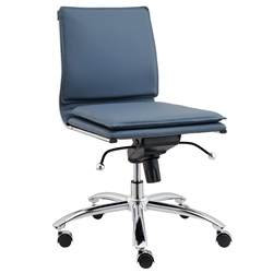 Gunar Blue Pro Low Back Modern Armless Office Chair by Euro Style