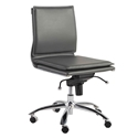Gurue Gray Leatherette + Chrome Modern Task Chair