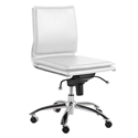 Gurue White Leatherette + Chrome Modern Task Chair