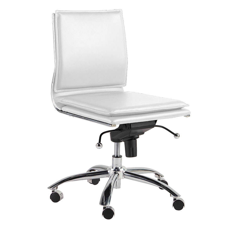 Superbe Call To Order · Gurue White Leatherette + Chrome Modern Task Chair