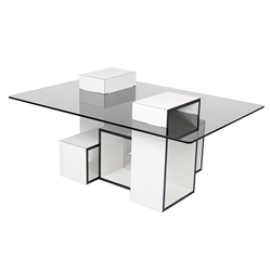 Gutta White + Black + Clear Modern Coffee Table