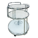Gyrocopter Chrome + Glass Modern Bar Cart Kitchen Accessory