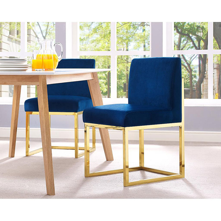 ... Hague Contemporary Blue Velvet Dining Chair