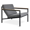 Gus* Modern Halifax Arm Chair in Andorra Pewter Fabric Upholstery With Black Steel Frame and Wood Arms