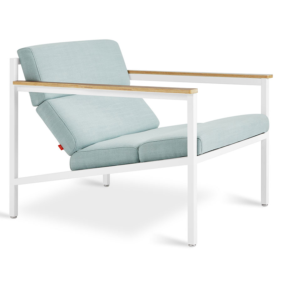 Call To Order Gus Modern Light Blue Fabric White Powder Coated Steel Arm Chair