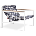 Gus* Modern Franz Indigo + Cream Fabric Upholstery with White Steel Frame and Wood Arms Chair