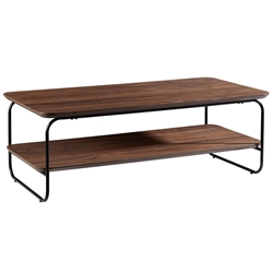 Halle Modern Rectangular Walnut Coffee Table by Euro Style