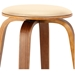 Hampton Modern Stool - Cream Faux Leather + Walnut