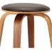Hampton Modern Stool - Brown Faux Leather + Walnut