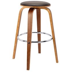 Hampton Modern Walnut + Brown Faux Leather Counter Stool