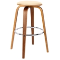 Hampton Modern Walnut + Cream Faux Leather Counter Stool