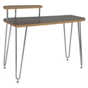 Hanh Gray Modern Desk with Left Shelf