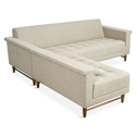 Harbord Loft Mid Century Modern Bi-Sectional Sofa in Leaside Driftwood Fabric + Walnut Wood Base by Gus* Modern