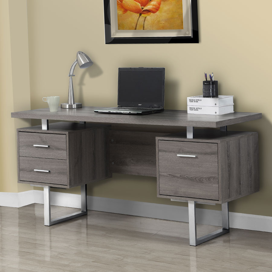 l office desk. Harley Contemporary Dark Taupe Desk With Storage Pedestals L Office