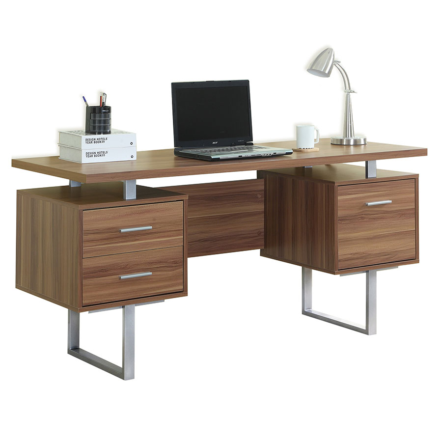 Call To Order Harley Modern Walnut Desk With Storage Pedestals