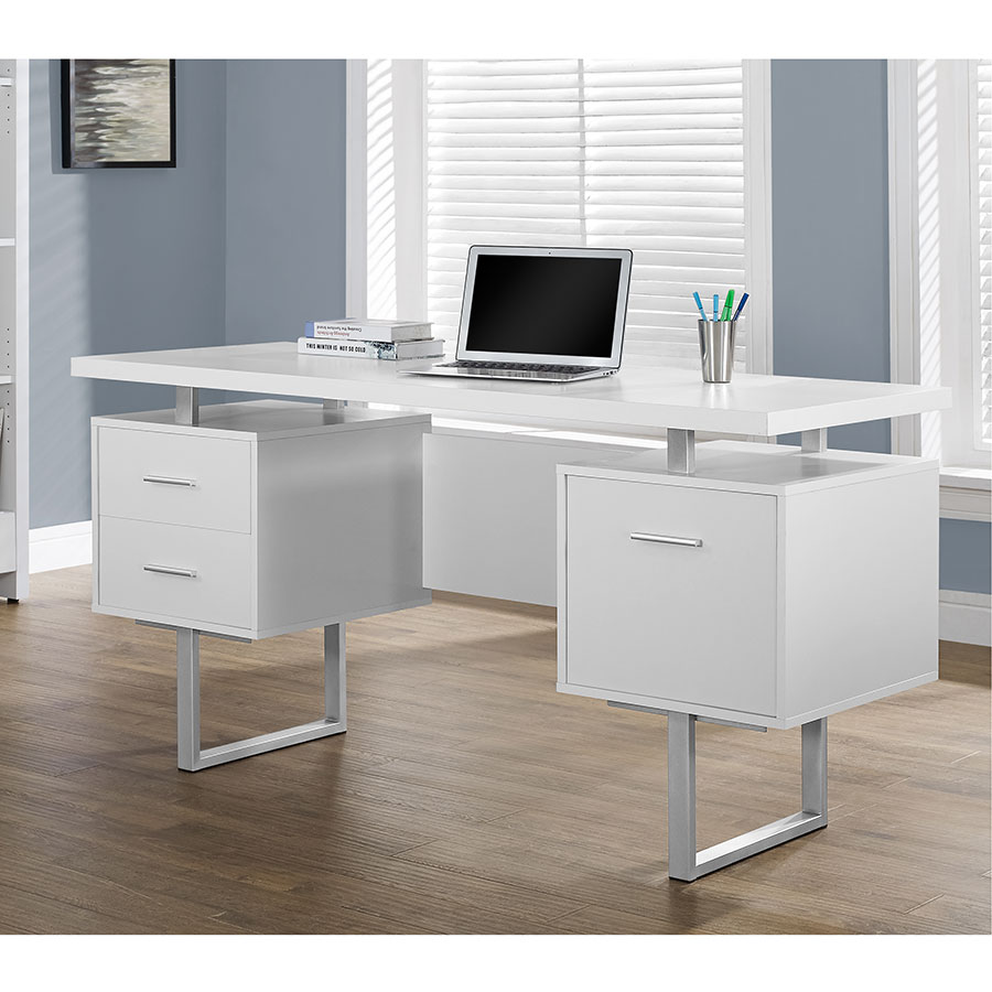 Gentil ... Harley Contemporary White Desk With Storage Pedestals ...