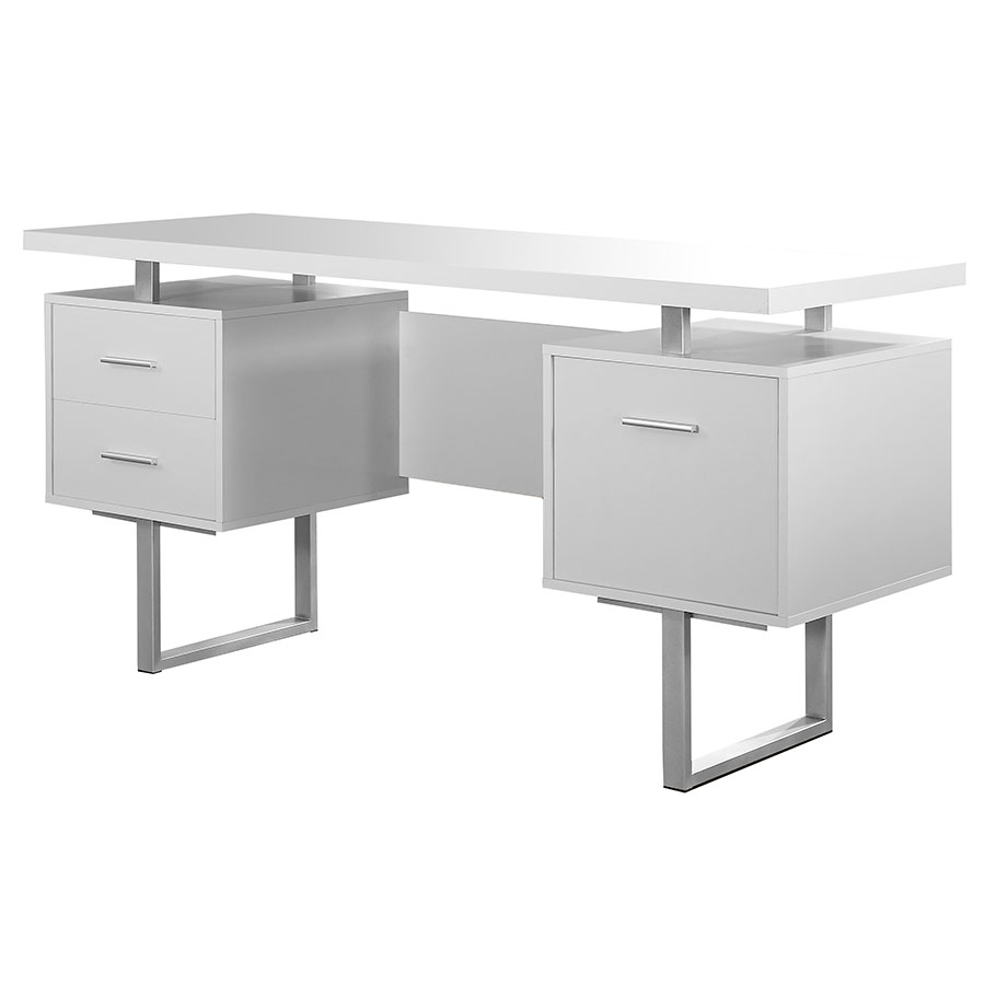 Call To Order Harley Modern White Desk With Storage Pedestals