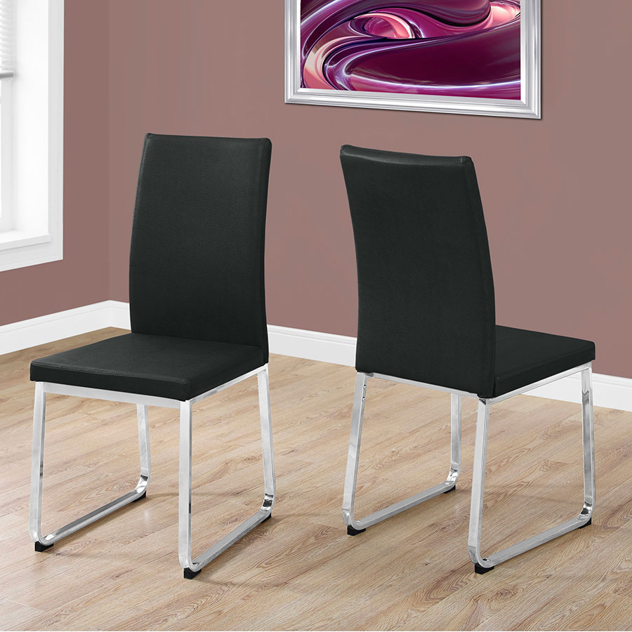 ... Harlow Black Faux Leather Dining Chair ... & Harlow Modern Black + Chrome Dining Chair | Eurway