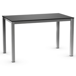 Harrison Modern Dining Table - Black Glass + Magnetite by Amisco