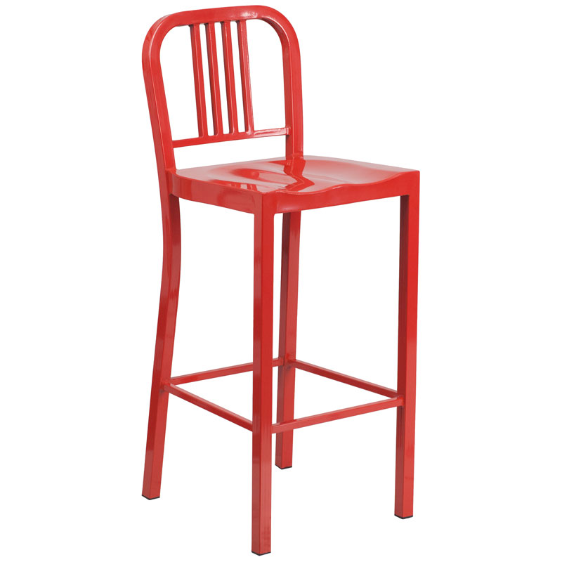 Hartford Red Modern Outdoor Bar Stool