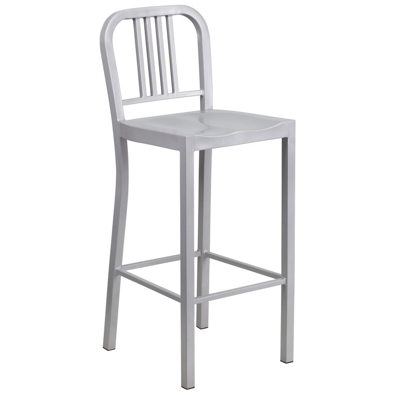 Hartford Silver Modern Outdoor Bar Stool